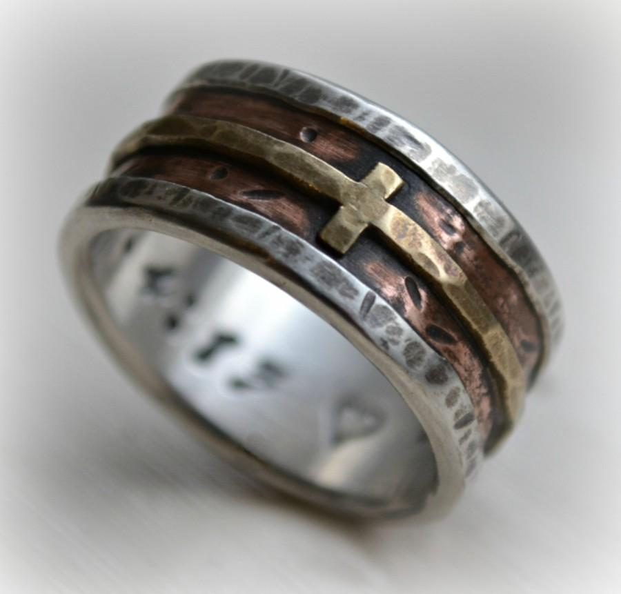 Mariage - mens wedding band - rustic fine silver copper and brass cross - handmade artisan designed wide band ring - manly Christian ring - customized