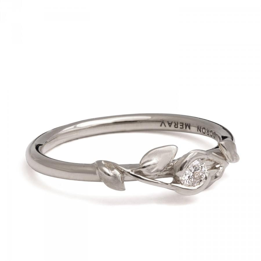 Leaves Engagement Ring 18K White Gold And Diamond Engagement Ring