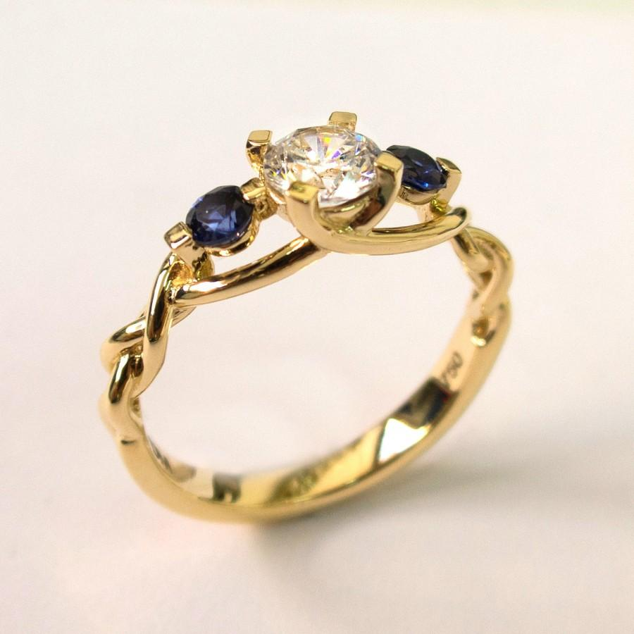 Braided Engagement Ring 7, Diamonds And Sapphire Engagement Ring, Gold Diamond  Ring, Unique Engagement Ring, Celtic Ring, Three Stone Ring