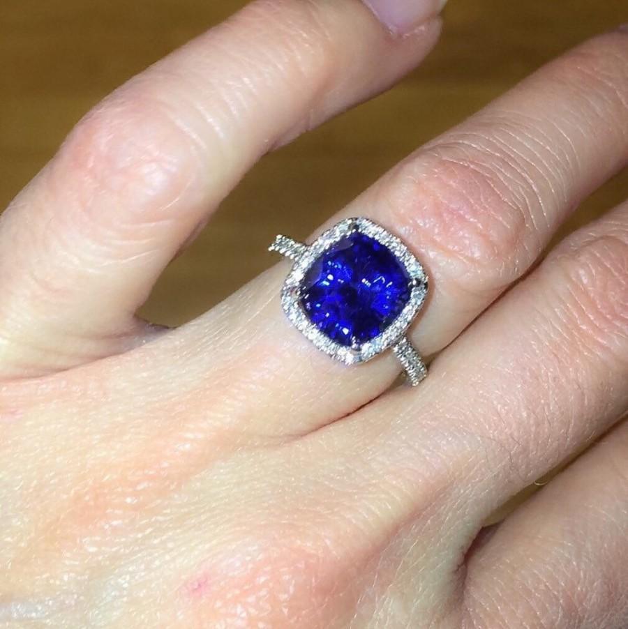 Свадьба - Diamond Sapphire Halo Engagement Ring 18kt White Gold Micro Pave Natural Diamonds 10mm Cushion Sapphire Birthstone Ring Pristine Custom Ring