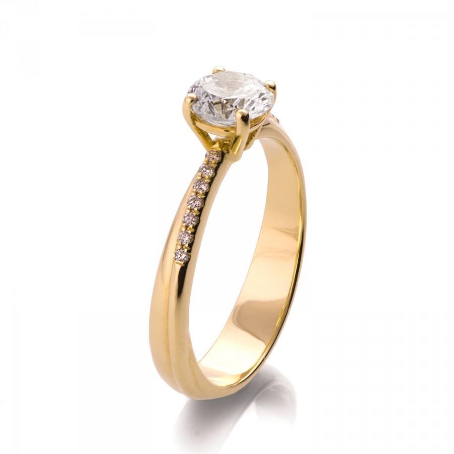 Свадьба - Forever Brilliant Moissanite Ring, 14K Gold and Moissanite engagement ring, celtic ring, engagement ring, wedding band, twist ring, R012
