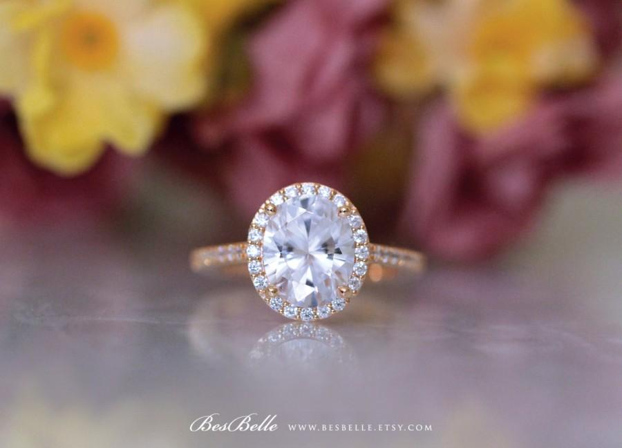 Свадьба - 3.54 ct.tw Rose Gold Oval Cut Diamond Simulant-Oval Halo Engagement Ring-Sterling Silver-Bridal Ring-Wedding Ring-Promise Ring [3052RG]