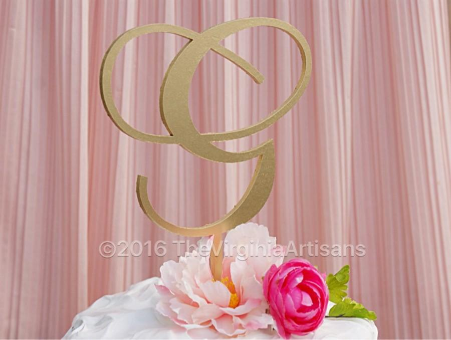 Свадьба - One Initial Cake Topper - One Letter Cake Topper - Gold - Silver -DIY