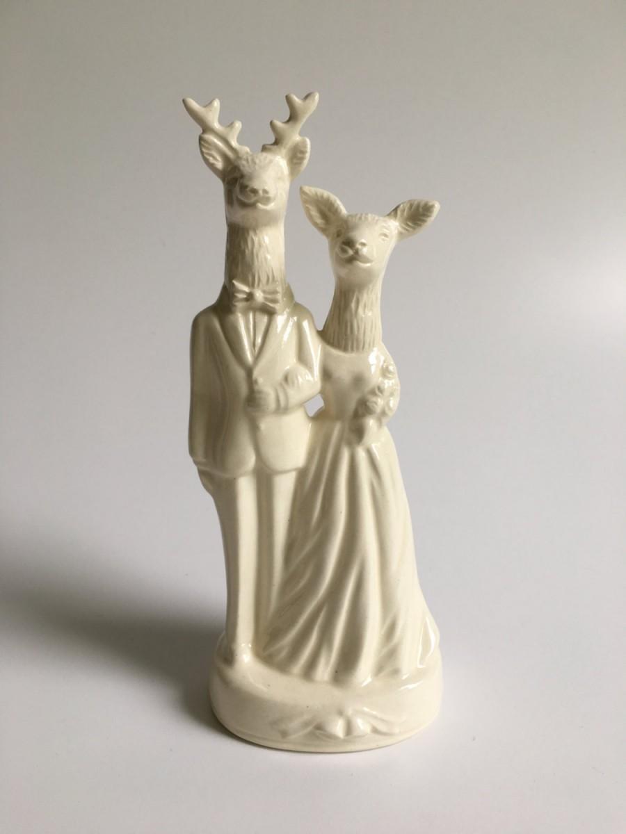 Mariage - Deer Couple Handmade Wedding Cake Topper