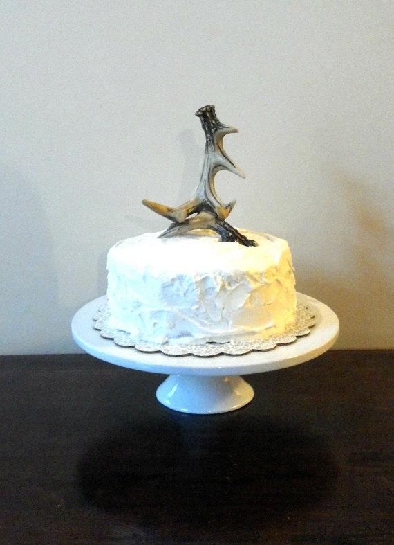 Wedding - Rustic Deer Antler Wedding Cake Topper Natural, White, or Gold Leaf