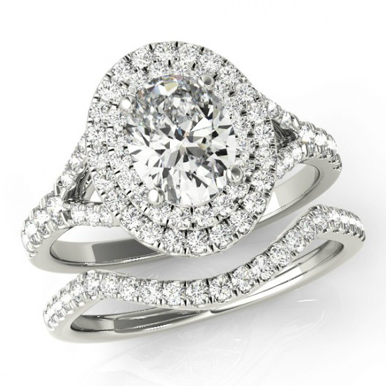 Oval Forever One Moissanite Amp Diamond Wedding Set Double