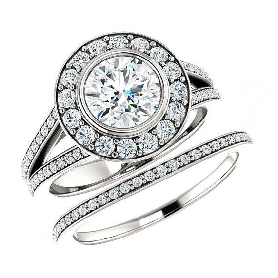Wedding - Forever One Moissanite & Diamond Bridal Set, Moissanite Wedding Sets for Women 14k 18k or Platinum, Engagement Rings Moissanite Bridal Sets
