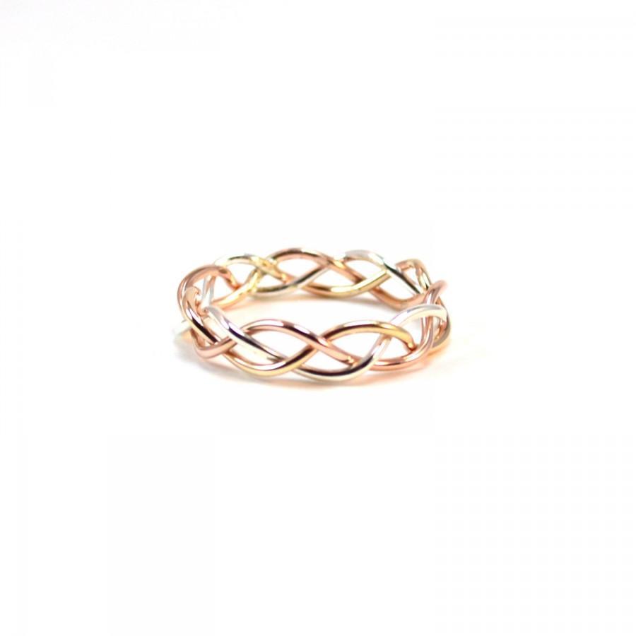 Tri Color Braided Ring Alternative Wedding Band Gold