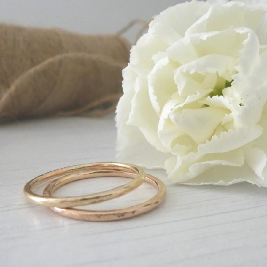 زفاف - Rose Gold Wedding Ring - Hammered or Smooth - 9ct Rose Gold