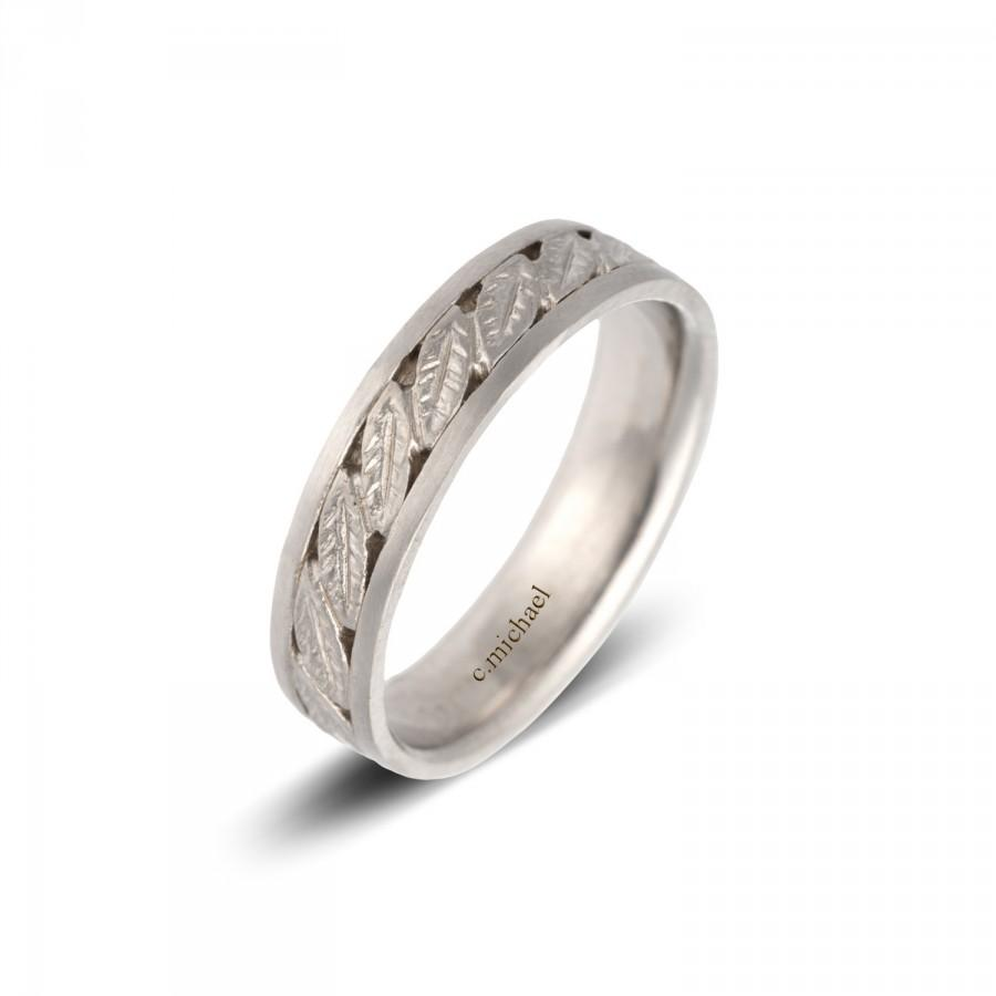 Wedding - white wedding ring, Wedding Band,  Bridal Ring, 14K white Gold Wedding Ring,  women wedding ring, Leaves Ring, Leaf Ring, Leaf wedding Ring