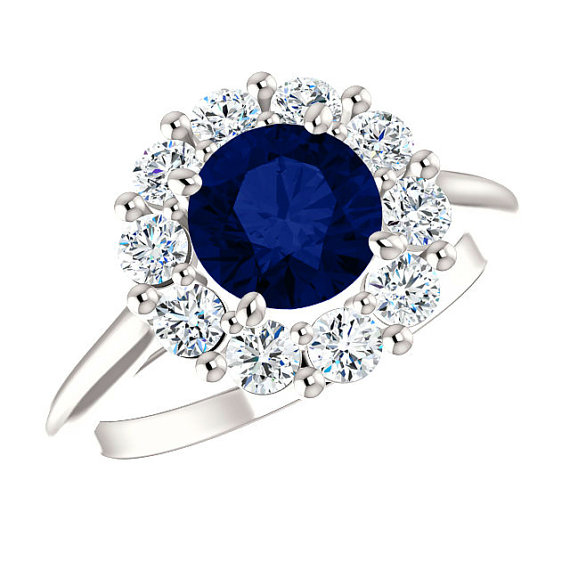 65mm sapphire diamond halo engagement ring princess diana 65mm sapphire diamond halo engagement ring princess diana inspired rin september birthstone rings anniversary rings 14k 18k or platinum aloadofball Images