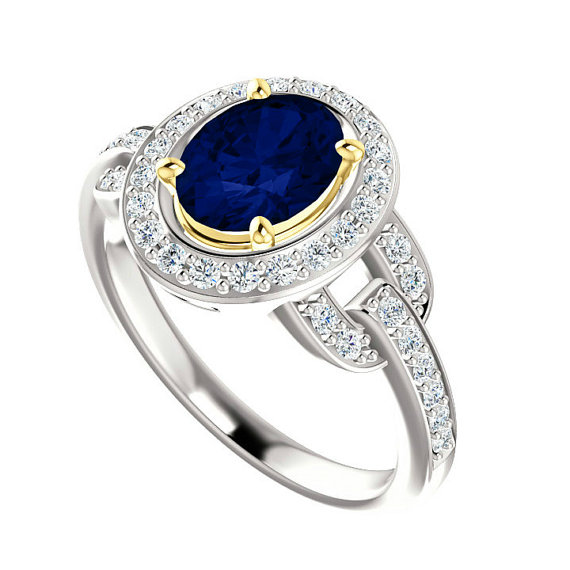 8x6mm Oval Blue Sapphire Diamond Vintage Inspired Engagement Ring Princess Diana Inspired