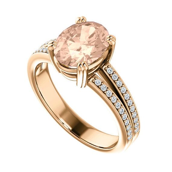 زفاف - 9x7mm Oval Morganite & Diamond Split Shank Engagement Ring 14k Rose Gold, Anniversary Rings for Women Gemstone Rings, Pink Morganite Jewelry
