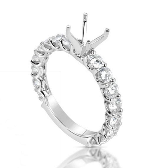 زفاف - 1.60 ct Diamond Engagement Ring Semi Mount 14k White Gold 18k or Platinum 6.5mm Center, GIA Diamond or Moissanite Available Engagement Rings