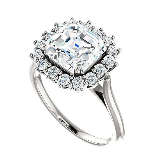 زفاف - 8mm Asscher Cut Forever One Moissanite & Diamond Halo Engagement Ring, 2 Carat, Moissanite Engagement Rings for Women Solitaire Rings 14k