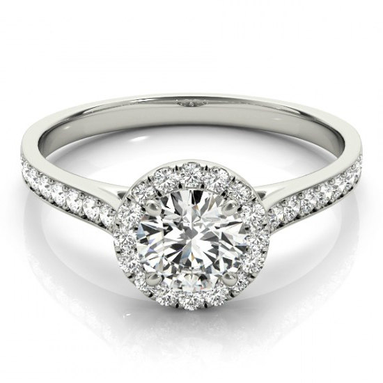 Forever One Moissanite Diamond Halo Engagement Ring 14k White Gold