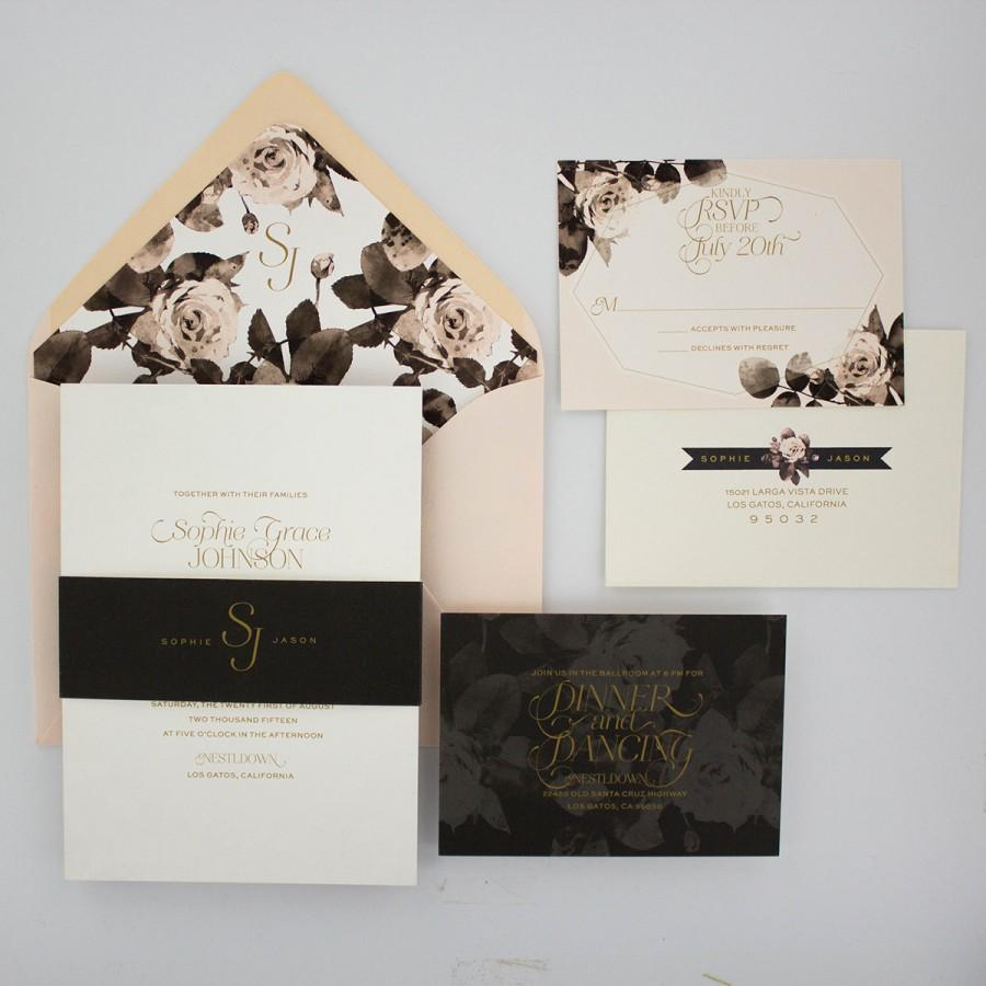 Mariage - Floral Wedding Invitation Suite, Gold and Blush, Modern Wedding Invitation with RSVP - Geo Floral Wedding Invitation