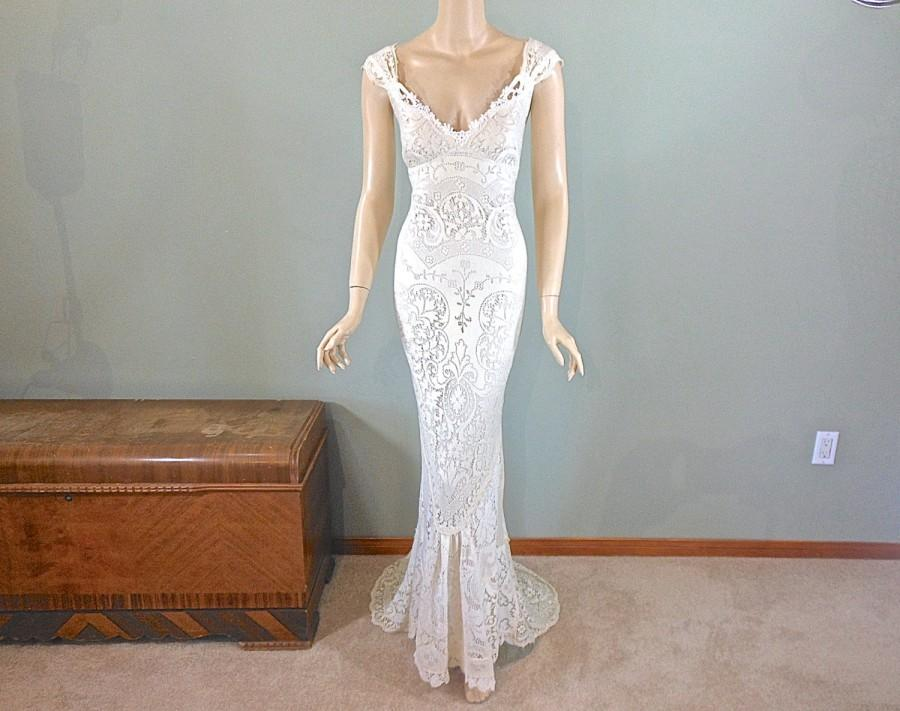 Ivory MERMAID Lace Wedding Dress Boho Wedding Dress Vintage Inspired ...