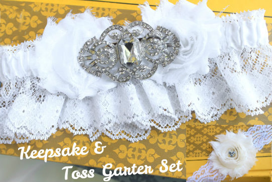 Hochzeit - CELESTE White Snow Garter Set - MANY COLORS available- Rhinestone Bridal Garter with Bling Garters Lace Handmade Garter, Beautiful Garter