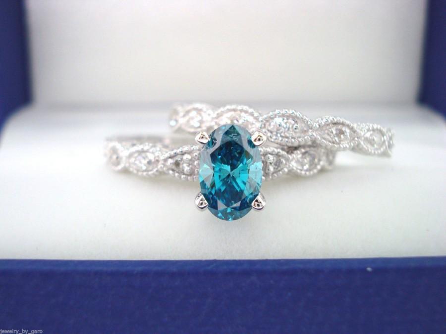 Oval Blue Diamond Engagement Ring Wedding Band Sets 0 74 Carat 14K White Gold