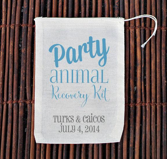 Mariage - Party Animal Recovery Hangover Kit- Bachelorette Party Welcome Favor Bags