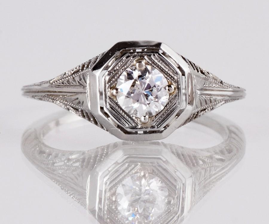 Mariage - Antique Engagement Ring - Antique Edwardian 18K White Gold Diamond Engagement Ring