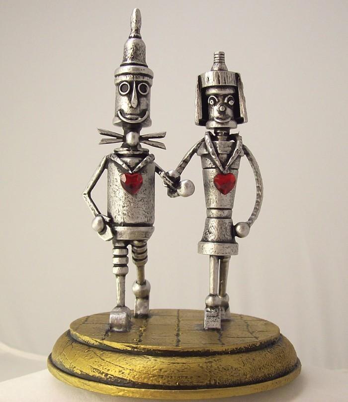 Mariage - Tin Man Oz with Bride Woodsman Robot Wizard of Oz Wood Wedding Cake Topper Yellow Brick Road