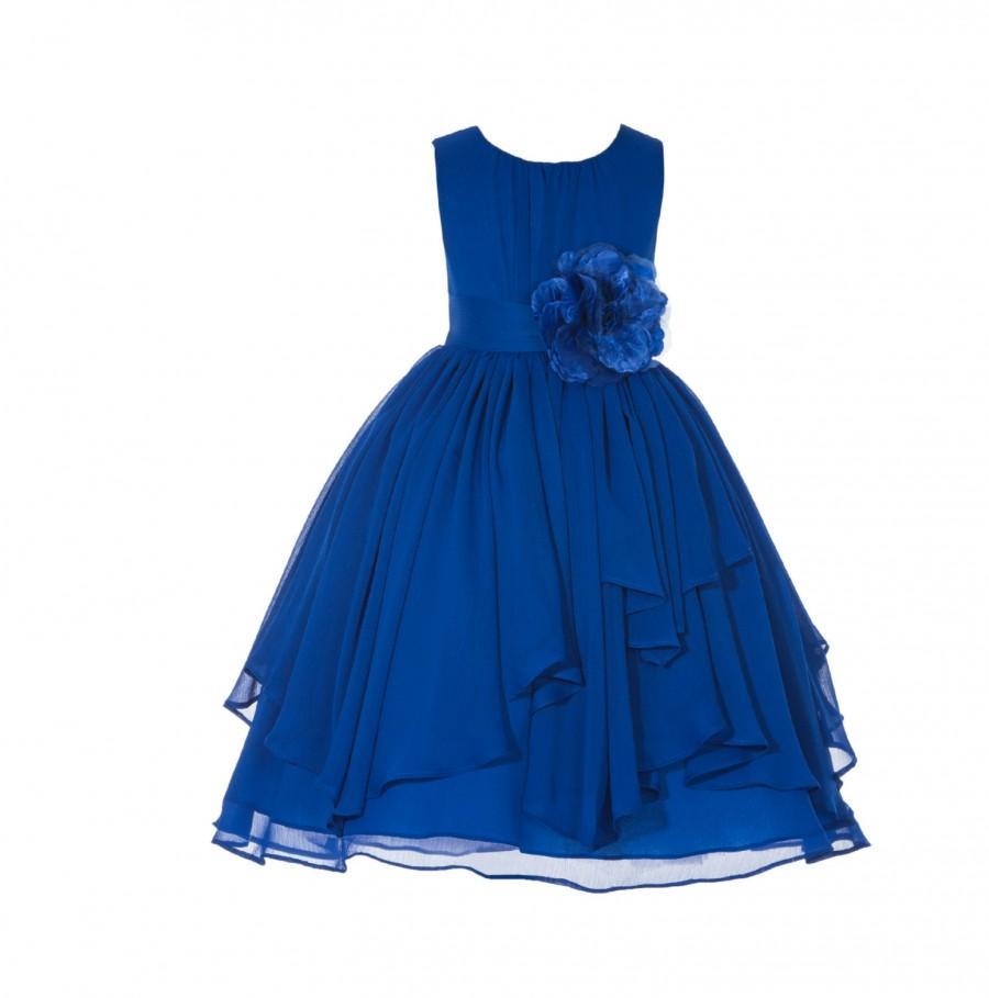 Blue christmas dress 4t - Chiffon Dress For Little Girl Flower Girl New Handmade Wedding Bridesmaid Pageant Junior Summer Party Recital Christmas 2 4t 6 8 10 12 Ey31