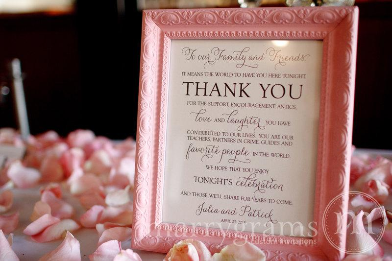 Свадьба - Wedding Reception Thank You Sign - To Our Family & Friends Signage - Matching Table Numbers Avail.- Custom Wedding Guest Thank You Card SS01