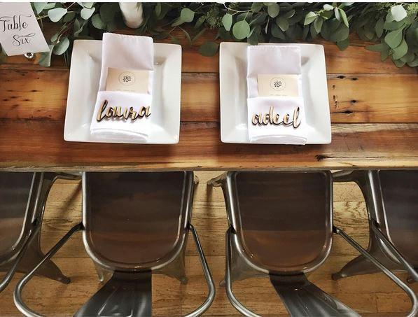 custom wood laser cut name plates eascort cards place settings