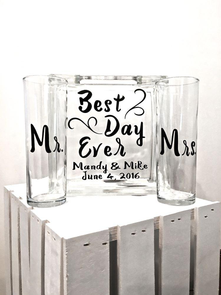 """Mariage - Unity Sand Ceremony Glass Containers - Glass Block """"Best Day Ever"""" personalized -Side vessels with Mr and Mrs"""