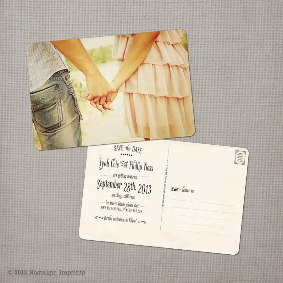 """Свадьба - Vintage save the date wedding cards - 4x6 - Save the date - the """"Tyah"""""""