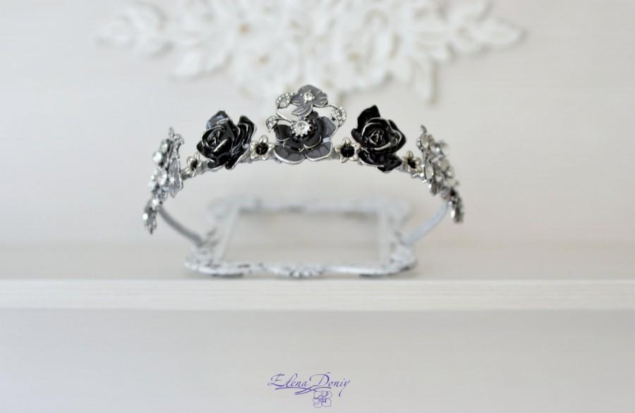 Mariage - Bridal crown Silver Black wedding tiara Black roses headpiece Fairy Black Queen Festiv hair accessories  Bohemian rhinestones crown