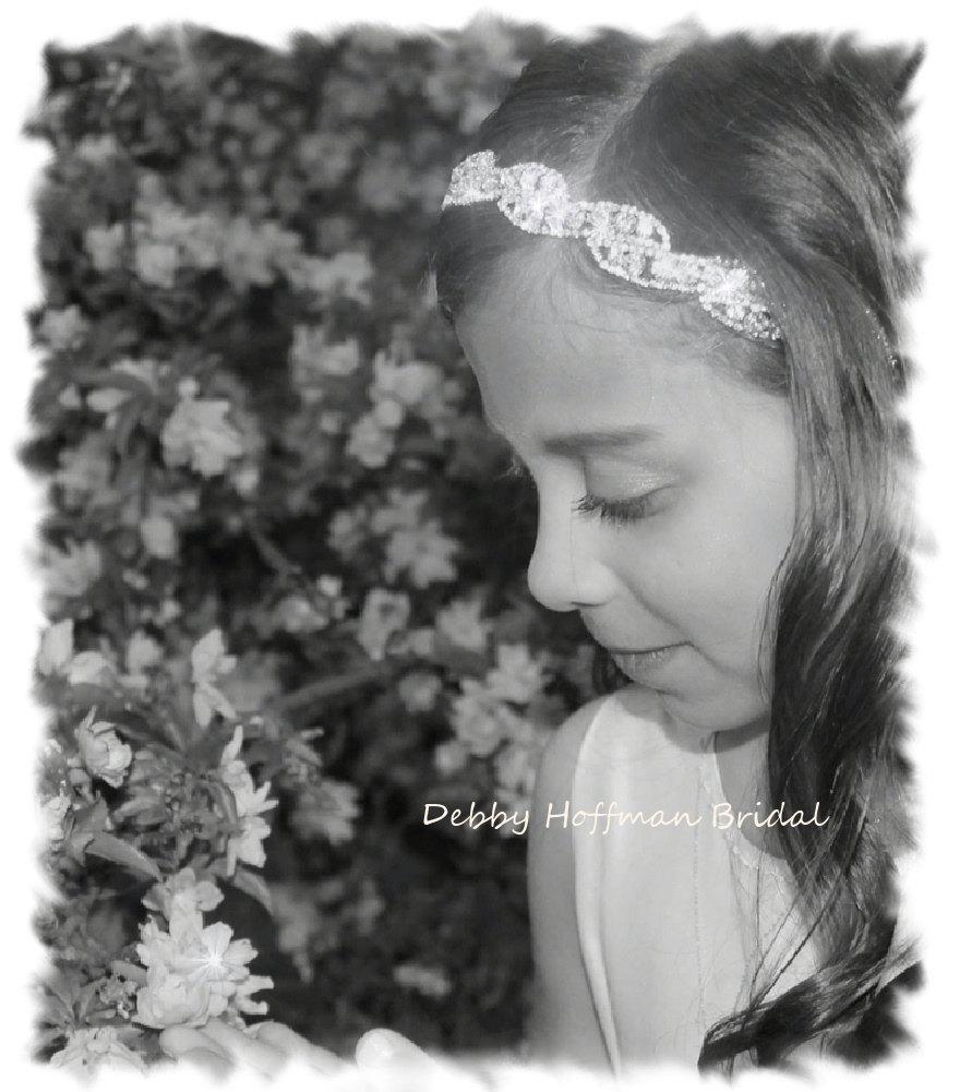 Wedding - Flower Girl Headband, Rhinestone Flower Girl Headband, Jeweled Crystal Flower Girl Headpiece, Jeweled First Communion Headband, No. 5050HB