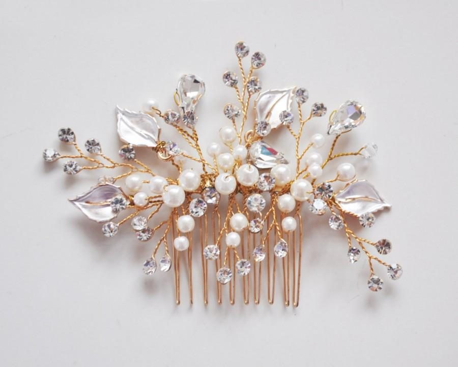 Mariage - Rose Gold Swarvoski hair comb, Pearl and leaf bridal accessories, bridal hair comb, Wedding Headpiece, Crystal hair comb, Style H004