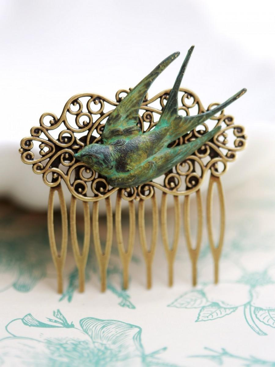 Mariage - Swallow Bird Brass Hair Comb, Green Flying Swallow ,Wedding Bridal Hair Comb. Hair Comb, Bridal Bridesmaid Comb,Summer,Gift for her