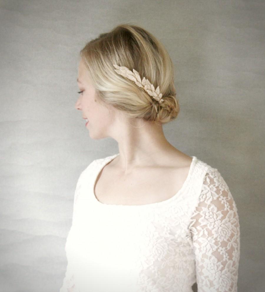 Mariage - Beaded Blush Fern Bridal Hair Comb. Wedding Hair Accessory. Bridal Hairpiece. Gold Hair Accessory.