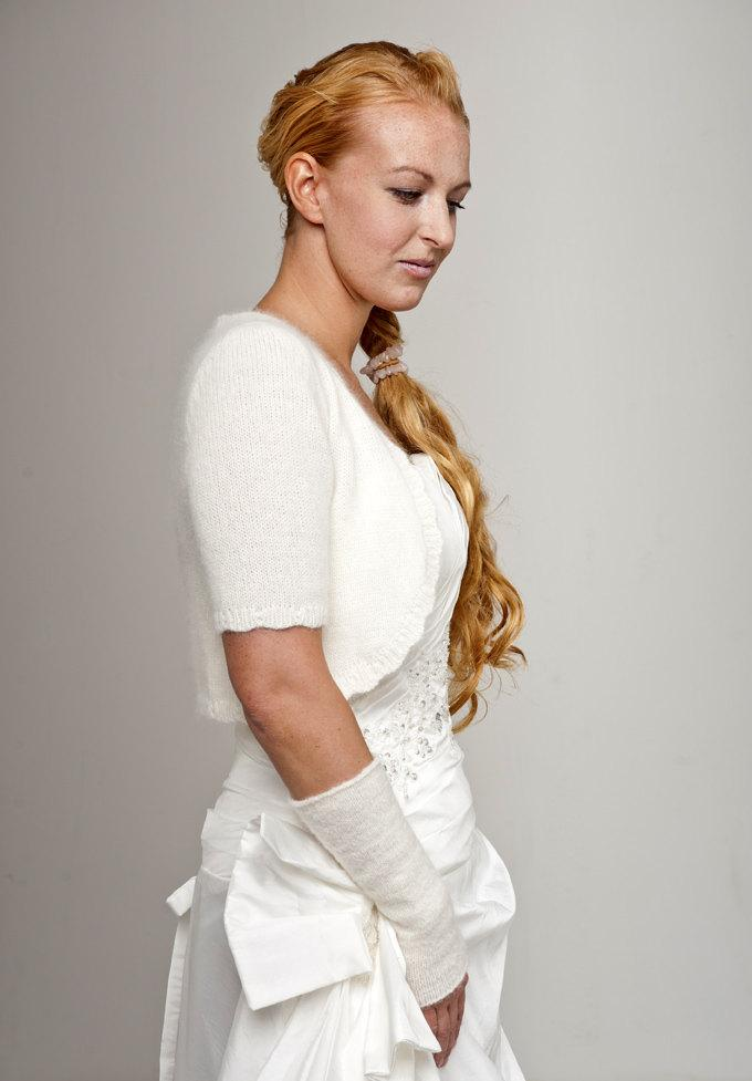 Hochzeit - KNIT KIT bridal jacket short sleeve made of soft and very skinfriendly wool