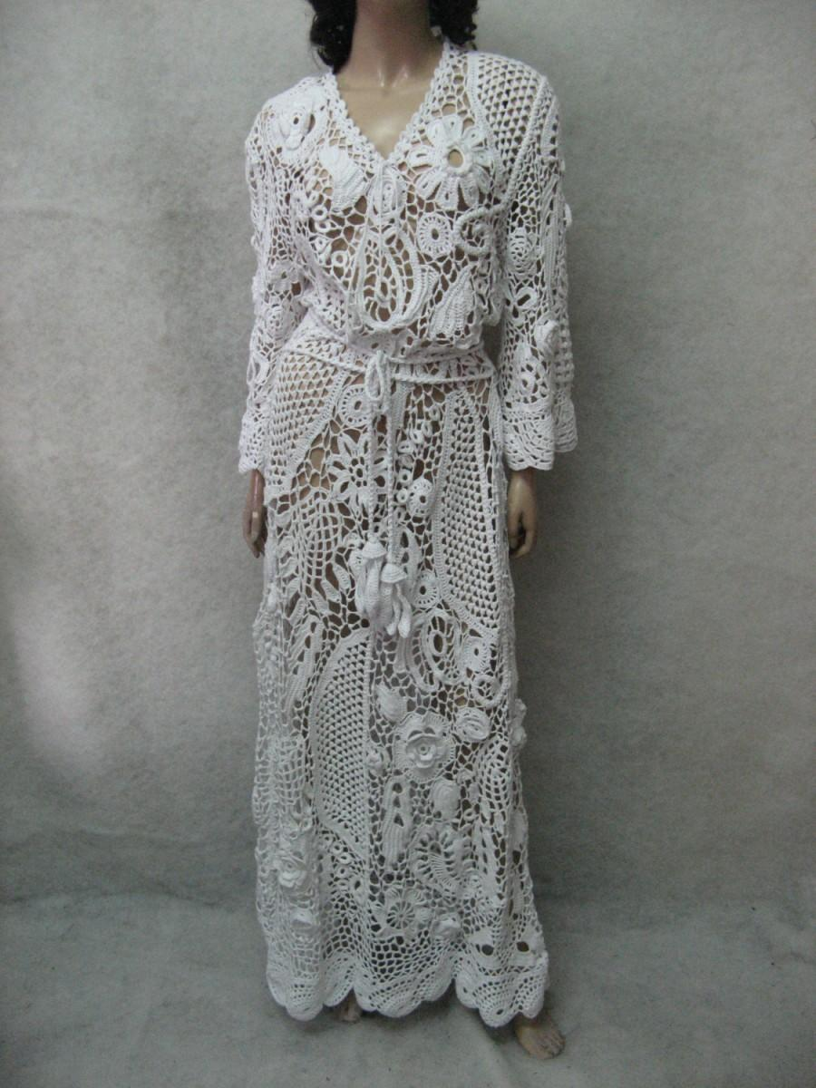Crochet dress handmade maxi dress crochet white dress for Crochet wedding dress patterns