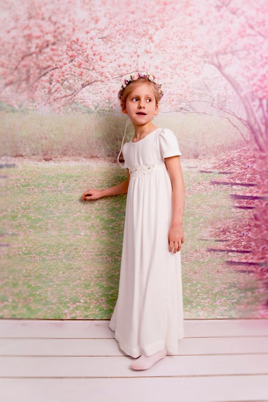 fb0450937 Junior bridesmaids dress Ivory girl dress Holy communion dress Flower girl  dress Baptism dress Christening girl dress First communion dress
