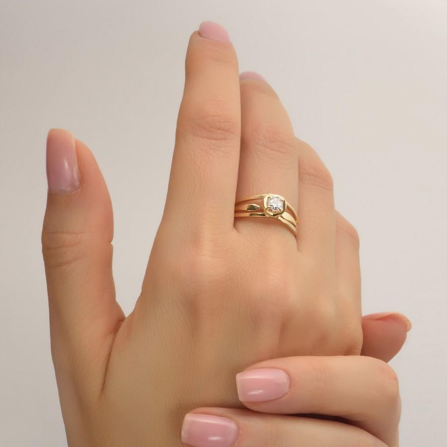 Mariage - Unique Engagement Ring,Diamond Ring, 14K Gold and Diamond engagement ring,engagement ring,art deco,celtic ring, Unique Engagement Rings,ENG3