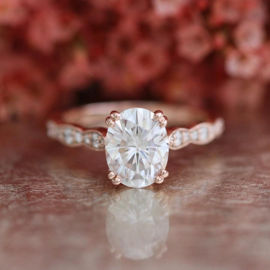 Forever One Moissanite Solitaire Engagement Ring In 14k Rose Gold
