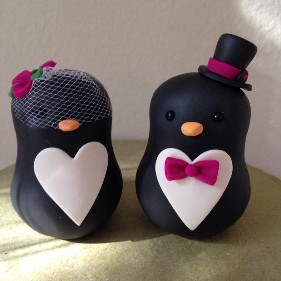Mariage - READY to SHIP Penguin love Wedding Cake Topper Handmade