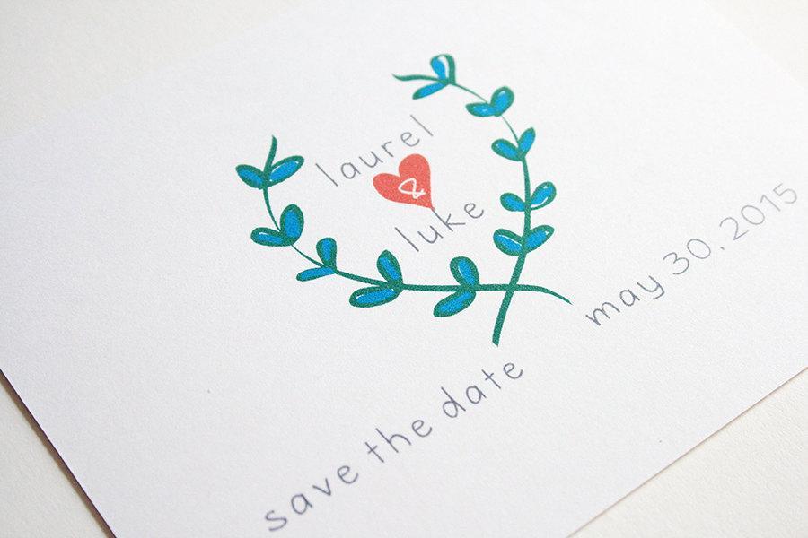 زفاف - Wedding Save the Date -- The Laurel -- Customizable Set -- CHOOSE YOUR QUANTITY