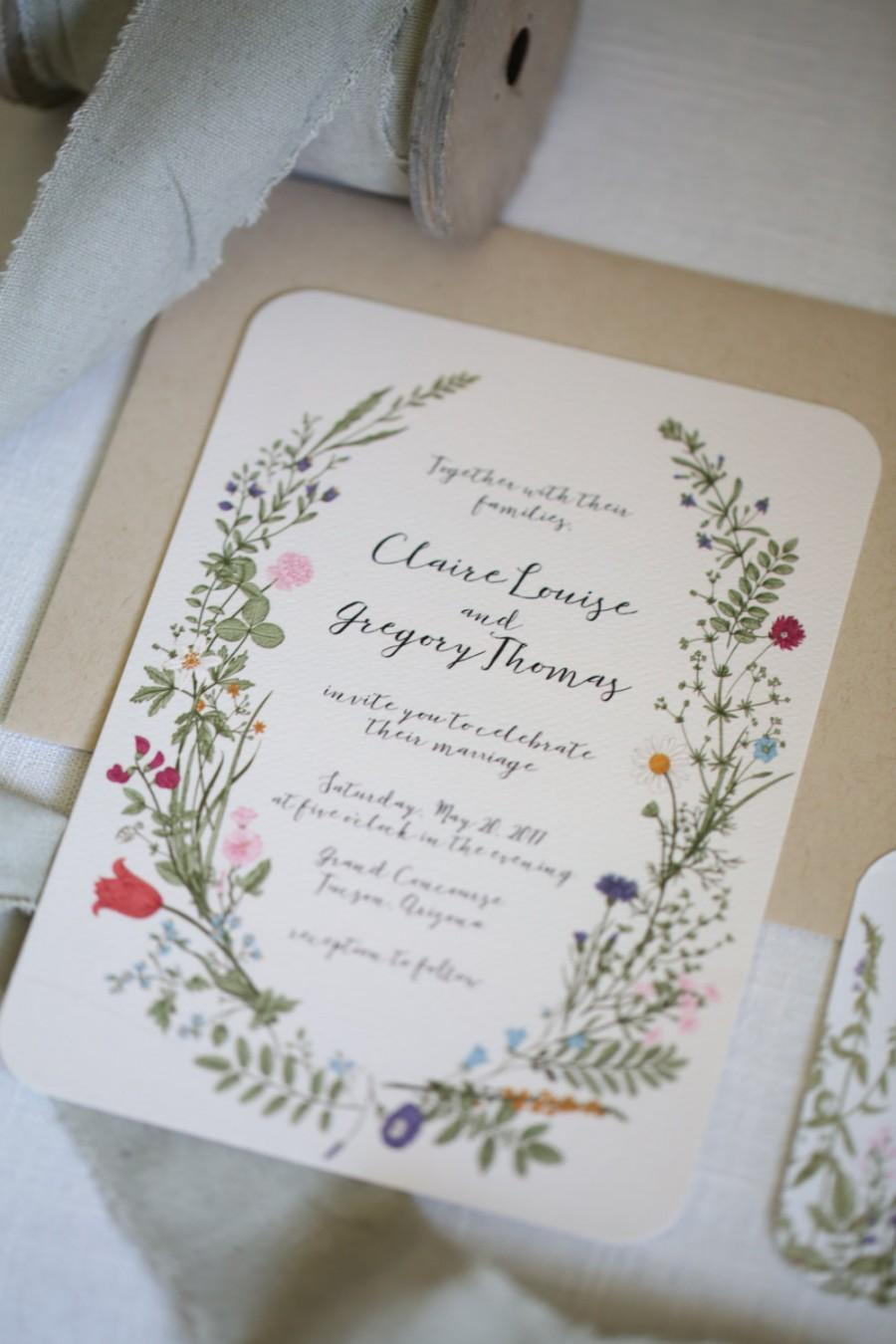 Свадьба - Wildflower Wedding Invitation set, Floral, Garden, calligraphy