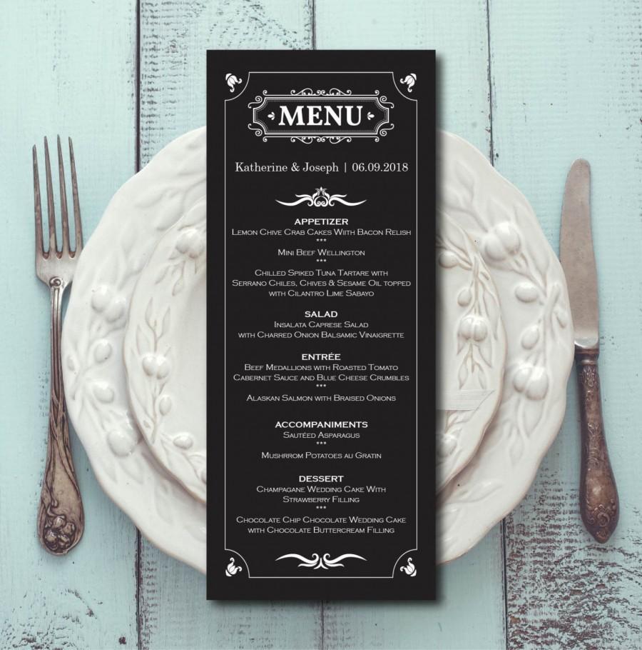 retro wedding menu black white menu card template dinner. Black Bedroom Furniture Sets. Home Design Ideas