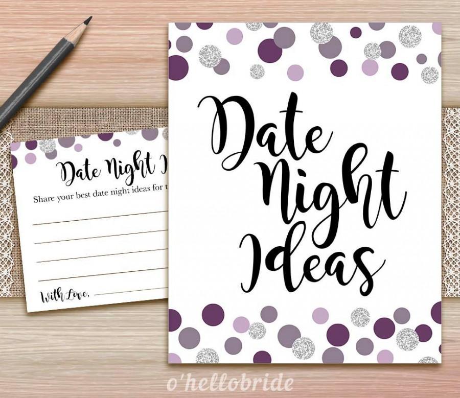 زفاف - Date Night Ideas for Newlywed Bridal Shower - Printable Polka Dot Purple Plum Gray Bridal Shower Date Night Ideas Cards and Sign 015