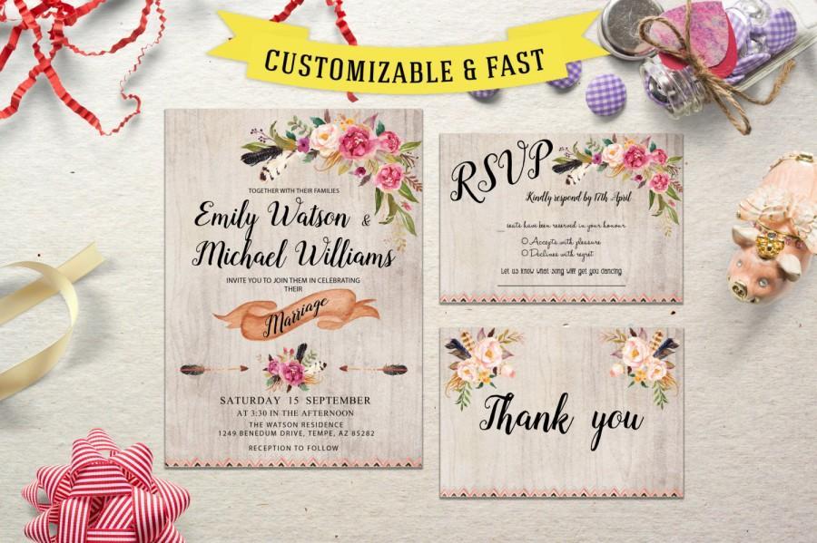 Свадьба - Printable wedding invitation,  wedding invitation template, wedding invitations with rsvp, wedding invitation printable, rustic wedding