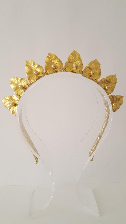 Mariage - ANAIS Gold Leaf Crown,Fascinator,Tiara, Headpiece