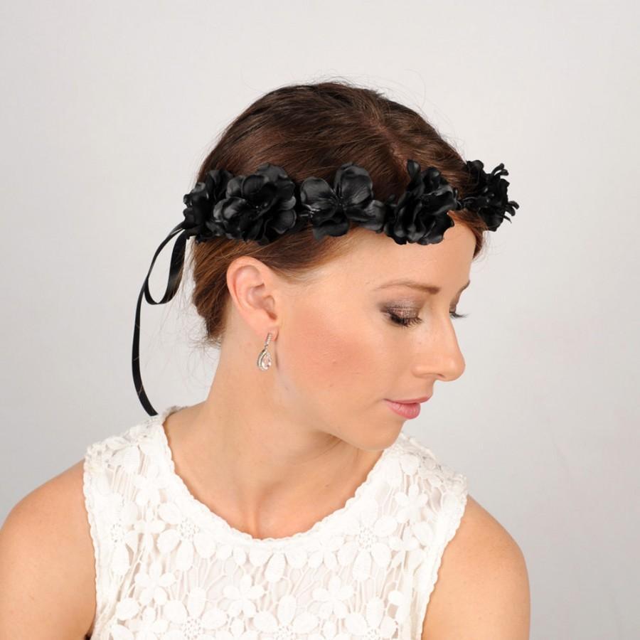 Black Flower Crown Gothic Headband Wedding Hair Piece Black Rose